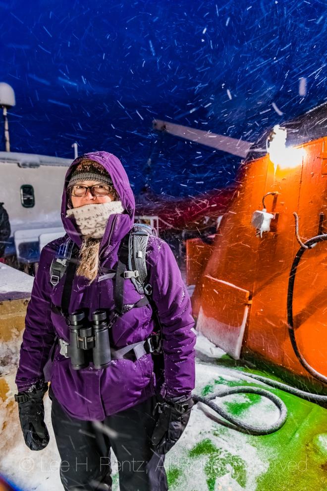 Karen Rentz in Snowstorm in Outport of Francois, Newfoundland