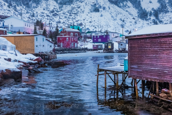 Colorful Houses and Fishing Stages in Francois Outport in Newfou