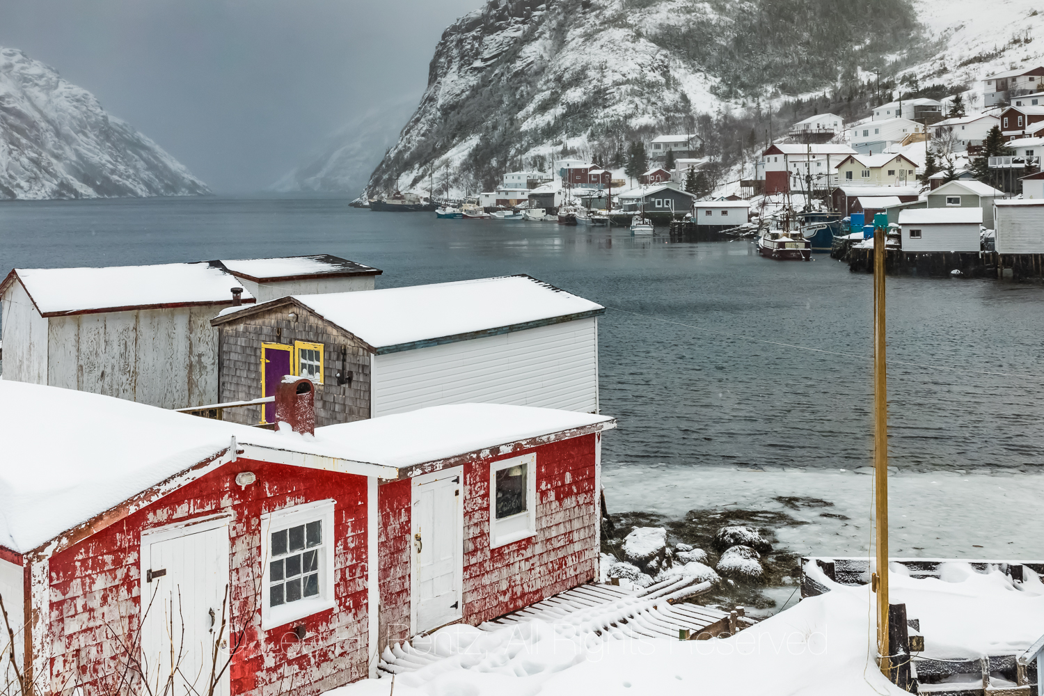 Colorful Houses and Stages in Francois Outport in Newfoundland
