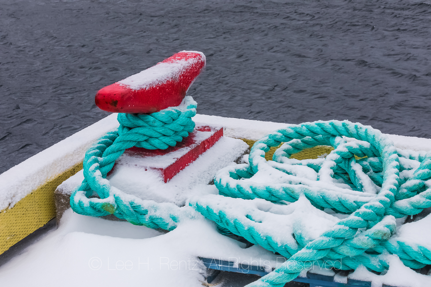 Cleat and Rope for Docking in Francois Outport in Newfoundland