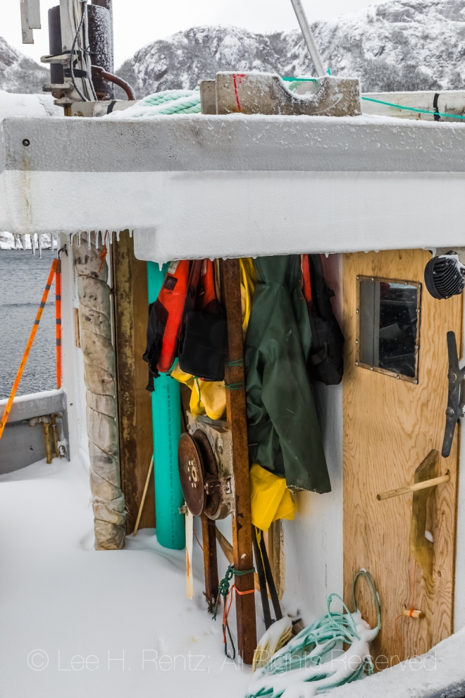 Fishing Gear in Francois Outport during a Snowstorm in Newfoundl