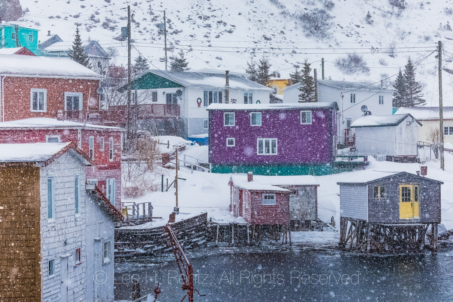 Colorful Houses in Francois Outport during a Snowstorm in Newfou