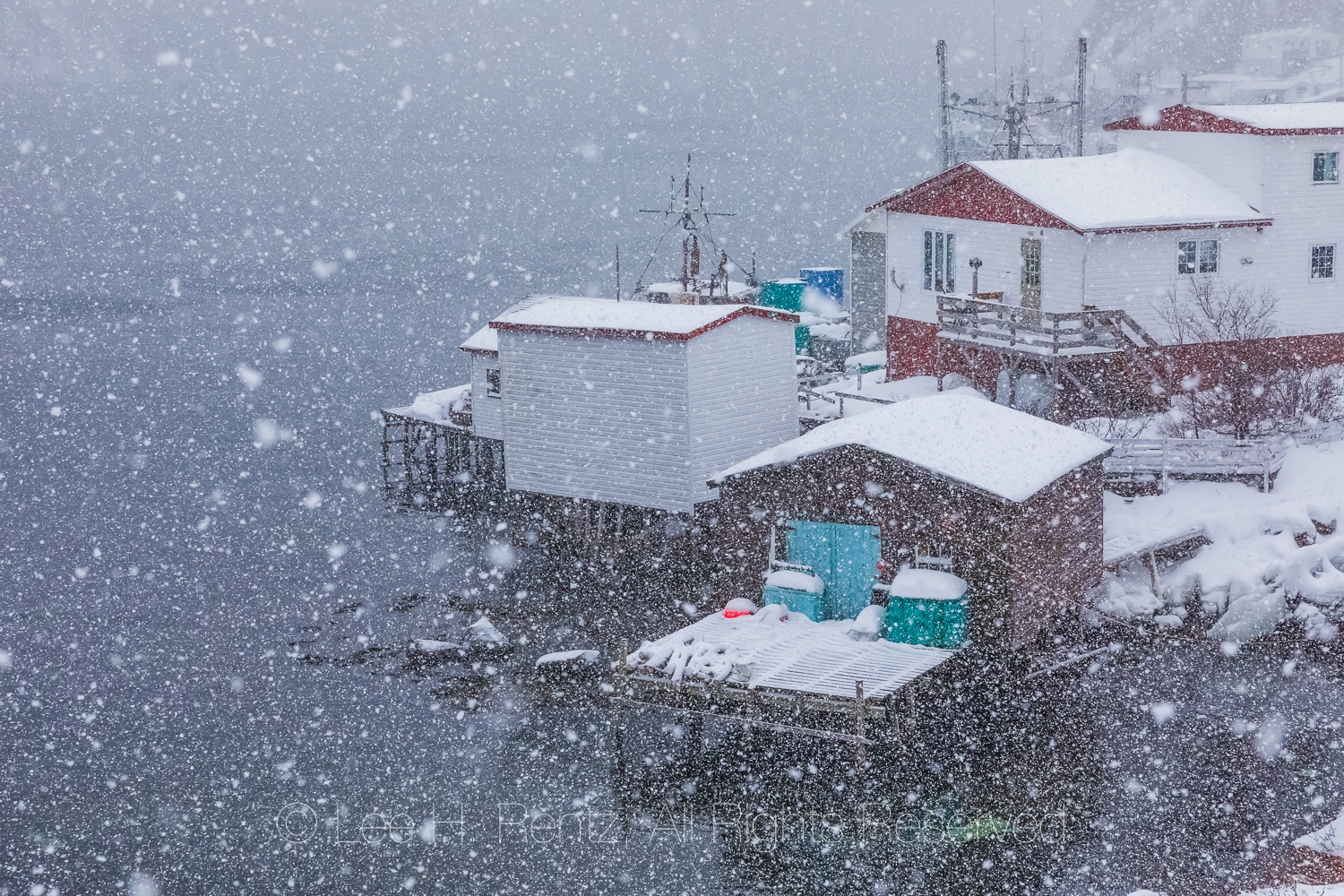 Fishing Stages in Francois Outport during a Snowstorm in Newfoun