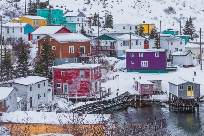 Fishing Stages and Colorful Homes in Francois Outport during a S