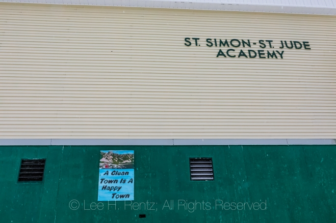 Sign on Public School in Francois Outport in Newfoundland