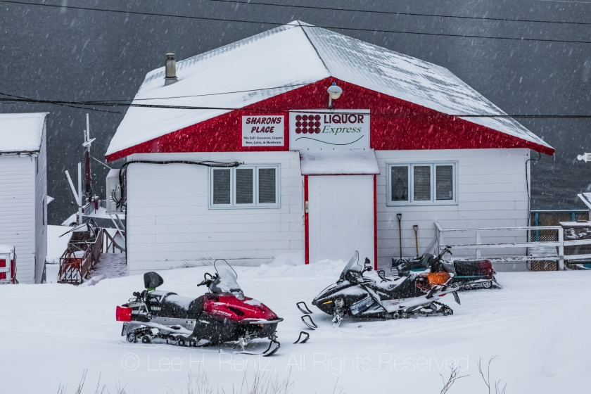 Sharons Place and Snowmobiles in Francois Outport during a Snows