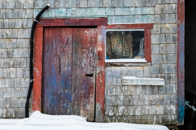 Fishing Stage in Francois Outport during a Snowstorm in Newfound