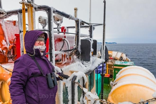 Karen Rentz on Ferry Marine Voyager In Burgeo, Newfoundland