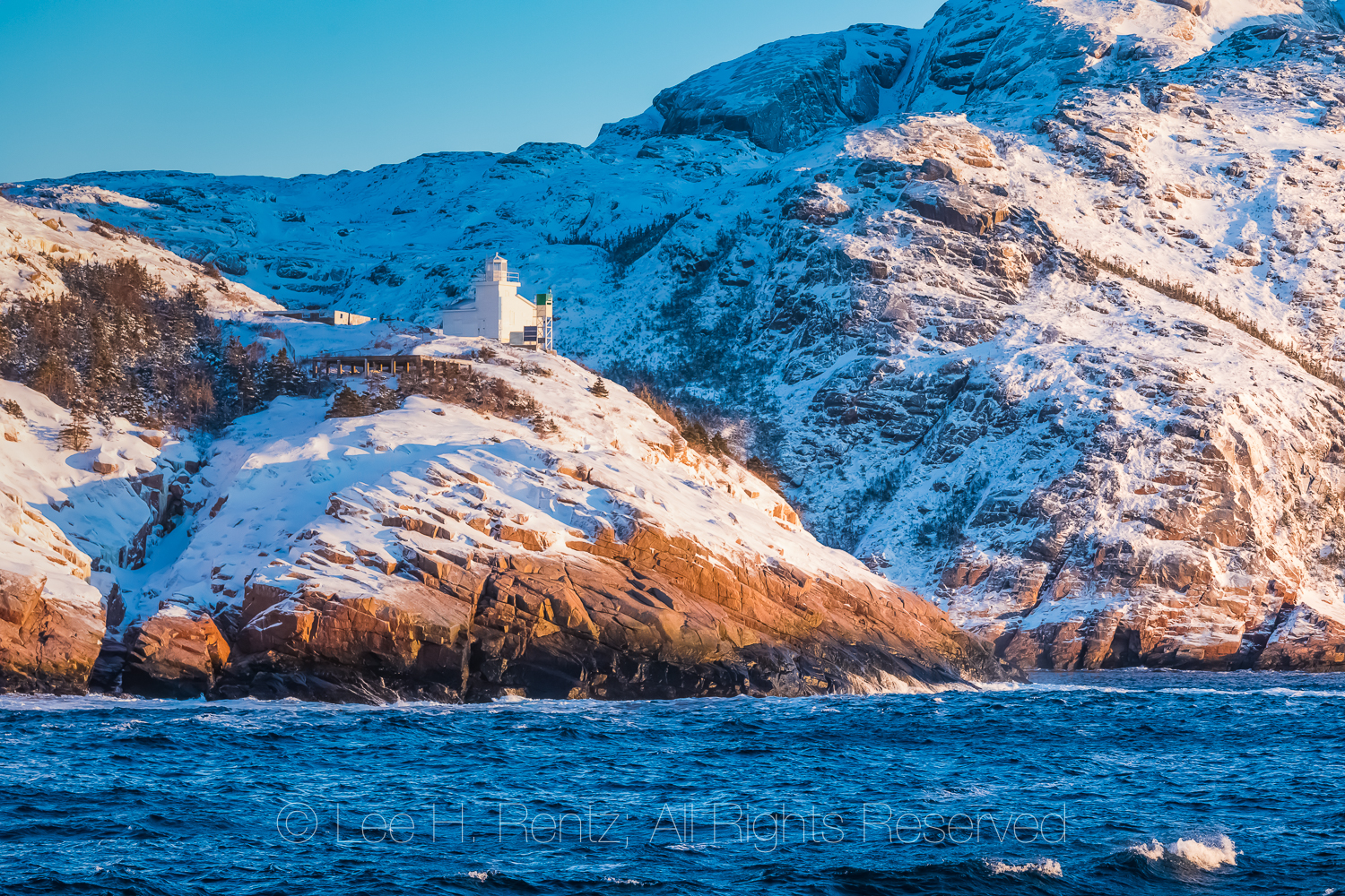 West Point Light Tower at Mouth of Francois Bay in Newfoundland