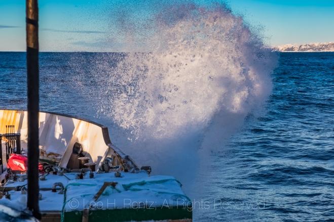 Ferry Smashing into Waves along South Coast of Newfoundland
