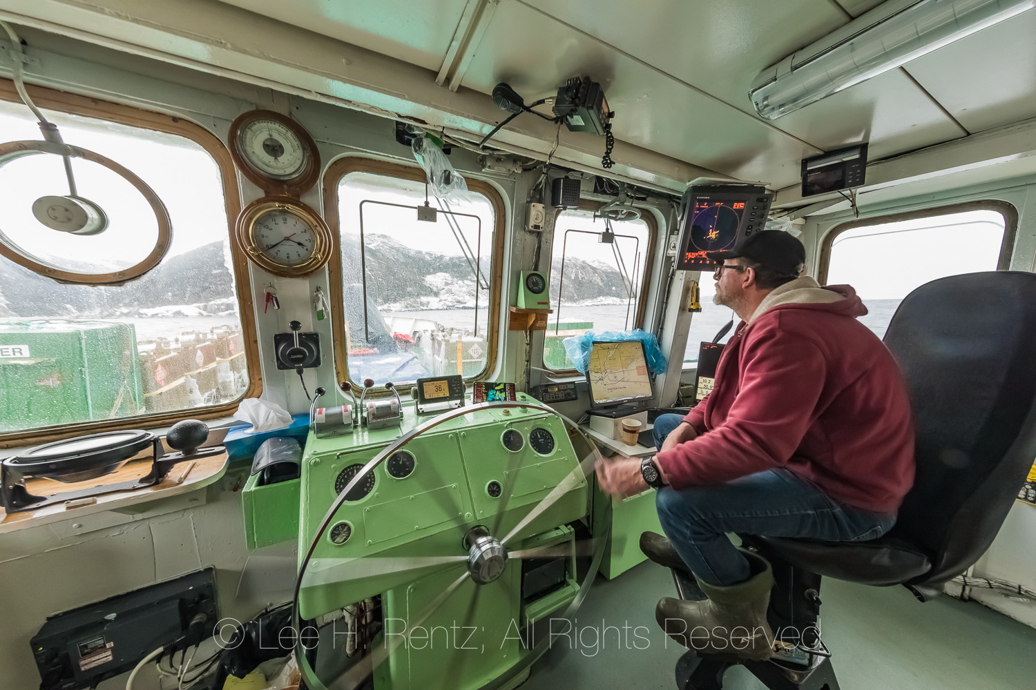 Captain on Bridge of the Ferry Marine Voyager In Burgeo, Newfoun