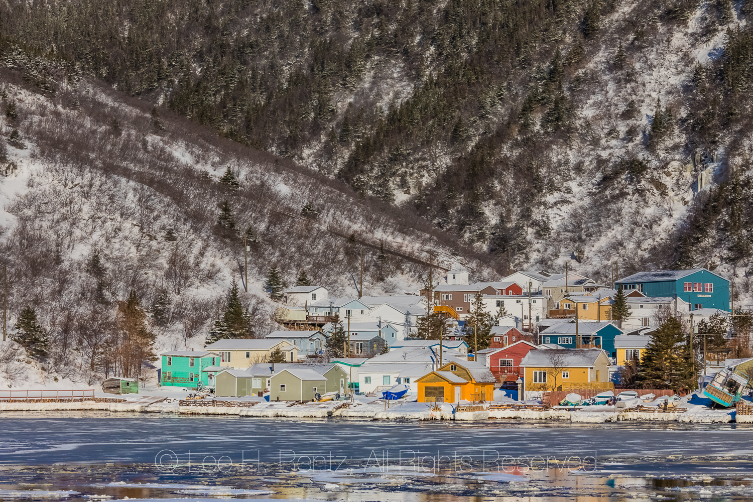 Colorful Houses and Sea Ice at the Grey River Outport in Newfoun