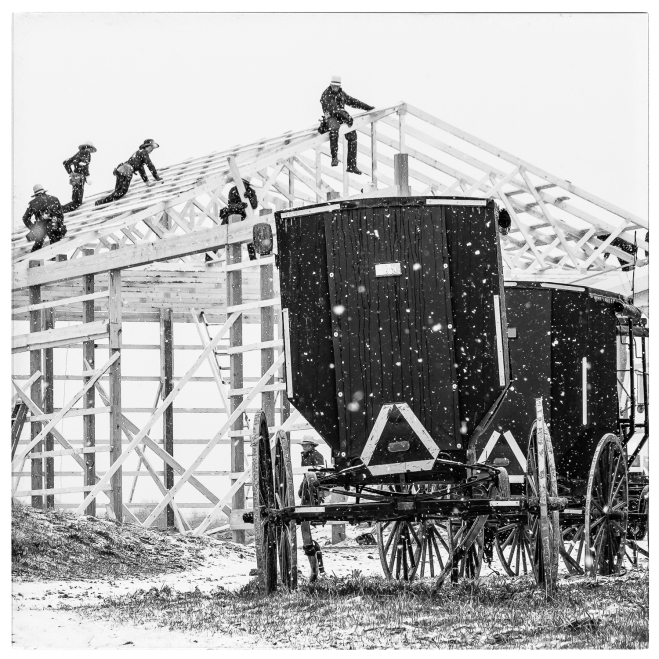 Barn Raising in an Amish Community in Central Michigan